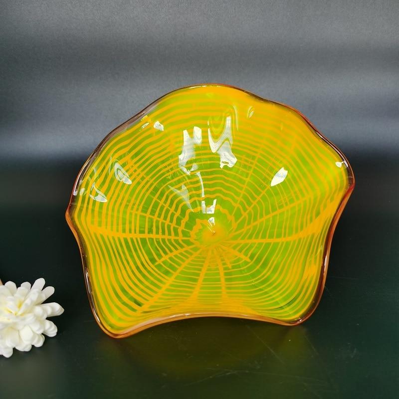 moderno dale chihuly murano placas de parede amarelo artesanal vidro sala estar lampadas