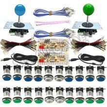Armoire de jeu darcade zéro retard USB encodeur Kit de bricolage 2 joueurs 33mm Chrome 5V bouton-poussoir Led 1p 2 p boutons de monnaie Sanwa Joystick