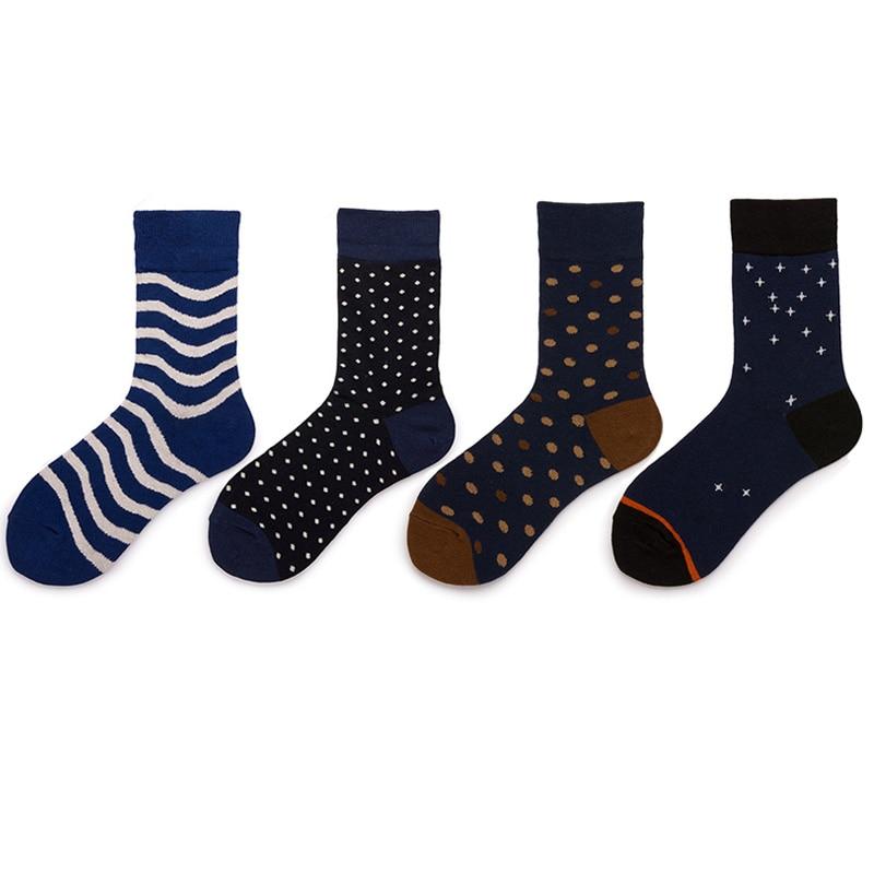 Модные хлопковые мужские носки в горошек, Длинные полосатые короткие носки, мужские деловые повседневные счастливые носки, женские носки