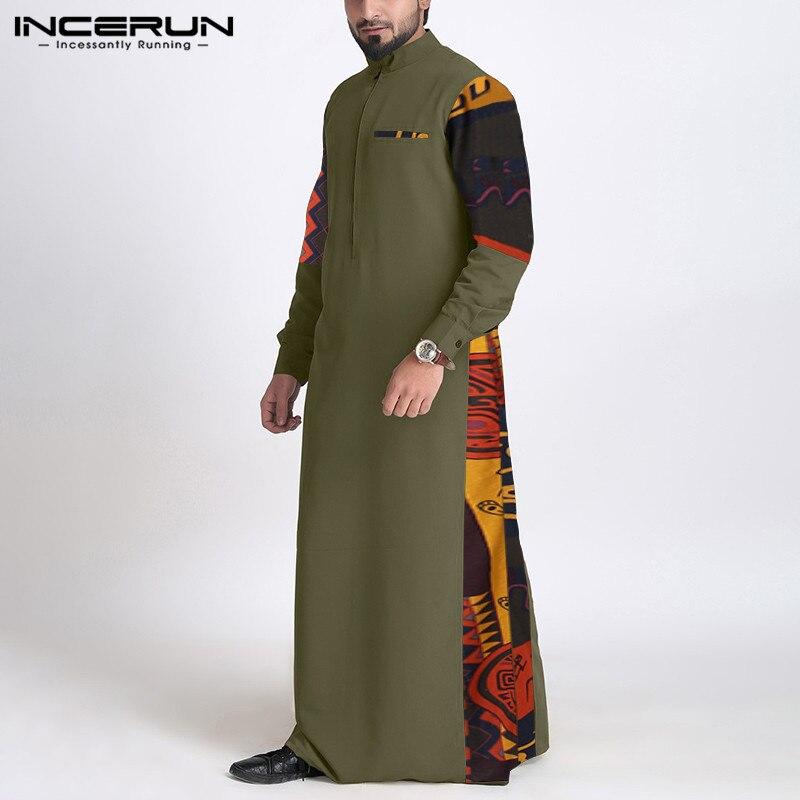 Indumentaria árabe con cuello levantado de manga larga con cremallera de Jubba Thobe Vintage informal con estampado de túnicas musulmanas de otoño para S-5XL