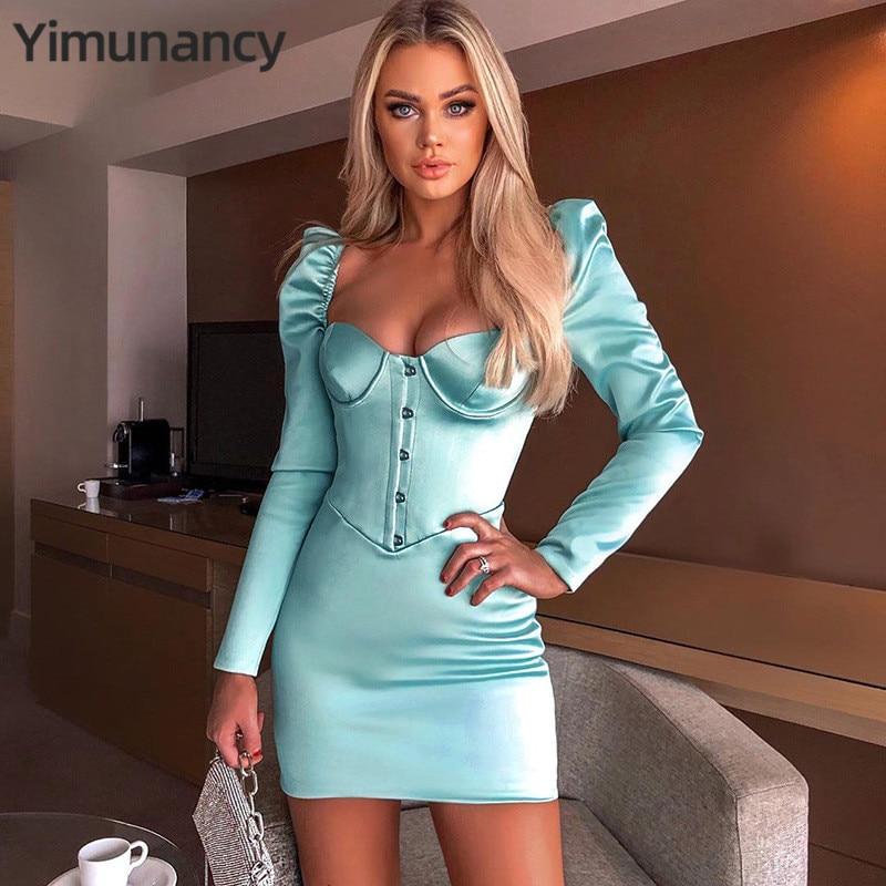 Yimunancy V Neck Bodycon Kleid Frauen 2020 Frühling Langarm Schwarz Sexy Kleid Damen Dünne Club Kleid Vestidos Roben