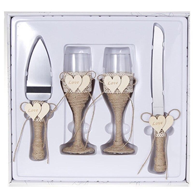 شخصية 4 قطعة الزفاف سكينة تقطيع الكيك مجرفة الزفاف Goblet getcakes مجرفة القاطع طقم السكاكين كعكة الزفاف هدية عيد ميلاد حفلة Déco