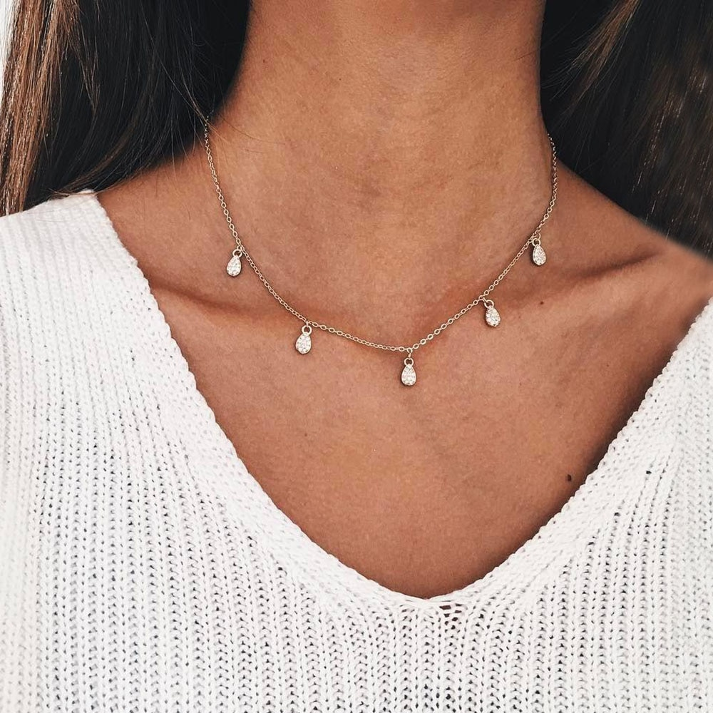 KINFOLK Fashion Necklace 2019 Gold Chain Women Chokers Personality Crystal Pendant Necklace Jewelry