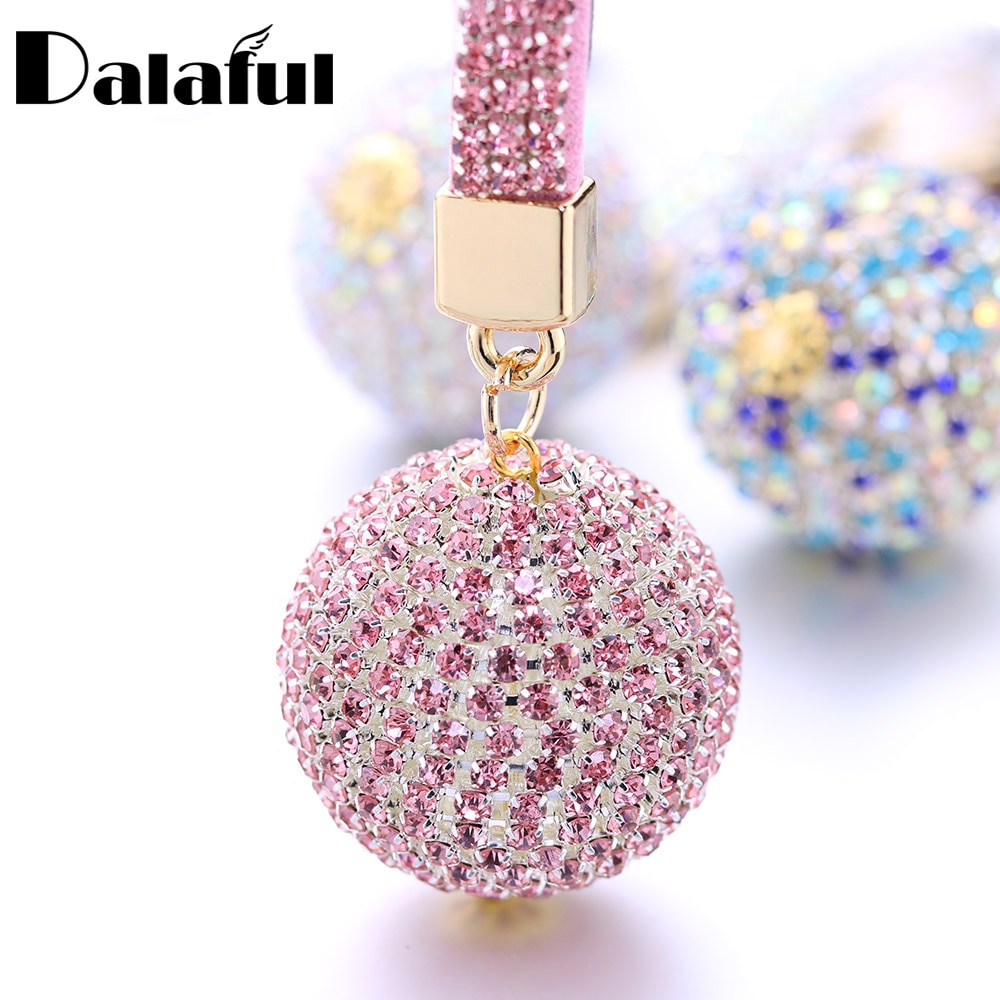 LLavero de cristal de bola completa correa de cuero de diamantes de imitación bolso de alta calidad colgante de bolsa o monedero llavero para llavero de coche K399