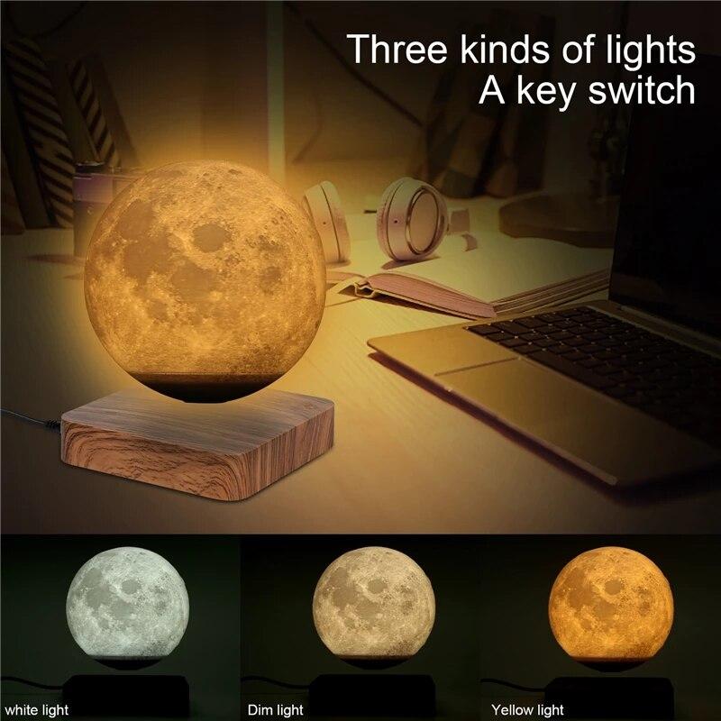 LED Night Light Levitation 3D Touch Magnetic Levitation Moon Jupiter Light Rotating Night Light Moon Jupiter Floating Light
