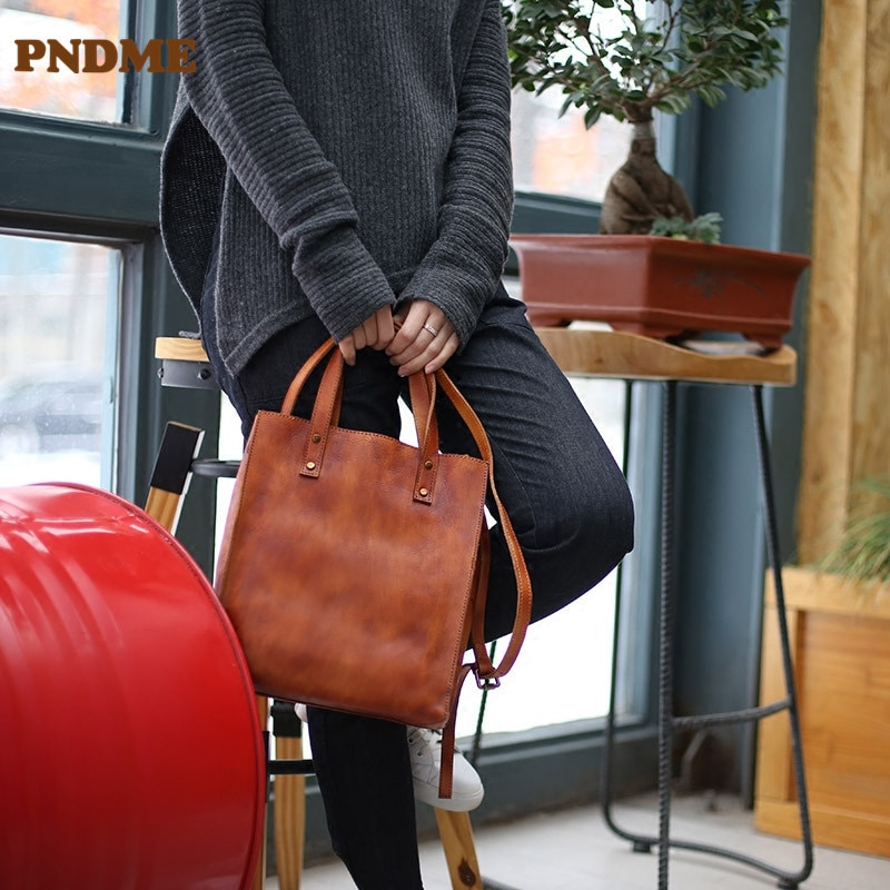 PNDME ريترو موضة عادية الطبيعية الطبقة الأولى جلد البقر لينة حقيبة الجراب الجلدية حقيبة سعة كبيرة جلد طبيعي حقيبة يد