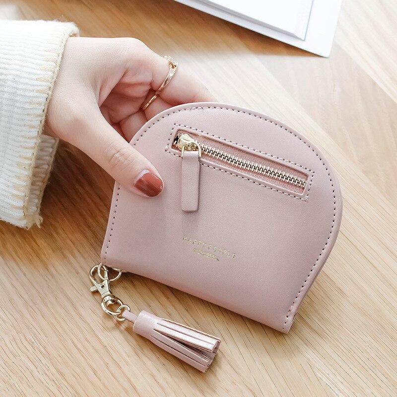Nueva cartera de estilo corto borlas estilo coreano Simple ultrafino de dos pliegues Mini hebilla de semicírculo caramelo- color de la mujer bolso