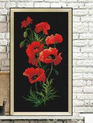 Hh novo vermelho papoula flores ponto cruz pacote planta define aida 14ct pano preto pessoas kit bordado diy artesanal bordado bordado