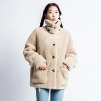real shearling lamb wool with faux suede leather liner 2020 new sheep fur winter coat women plus size