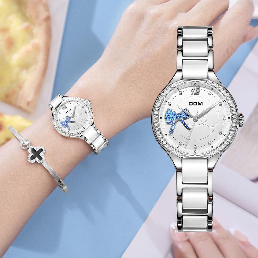 DOM Fashion Women Diamonds Wrist Watches Ceramics Watchband Top Luxury Brand Dress Ladies Geneva Quartz Clock G-1271D-7MH