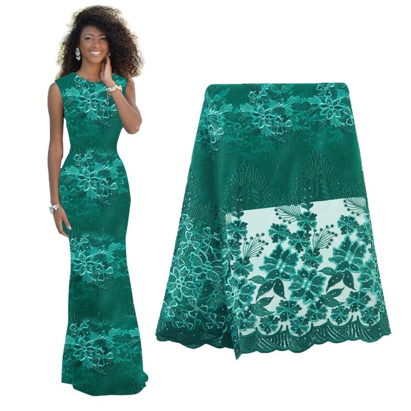 Африканская кружевная ткань с блестками, 2019, горячая Распродажа, блестящая ткань, высокое качество, тюль, блестки, кружевная ткань для вечер...