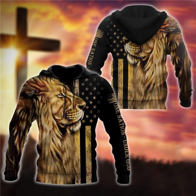 One Nation Under God hoodies Fashion Pullover 3D Printed Zipper Hoodies/Sweatshirts women for men Christmas sweater недорого