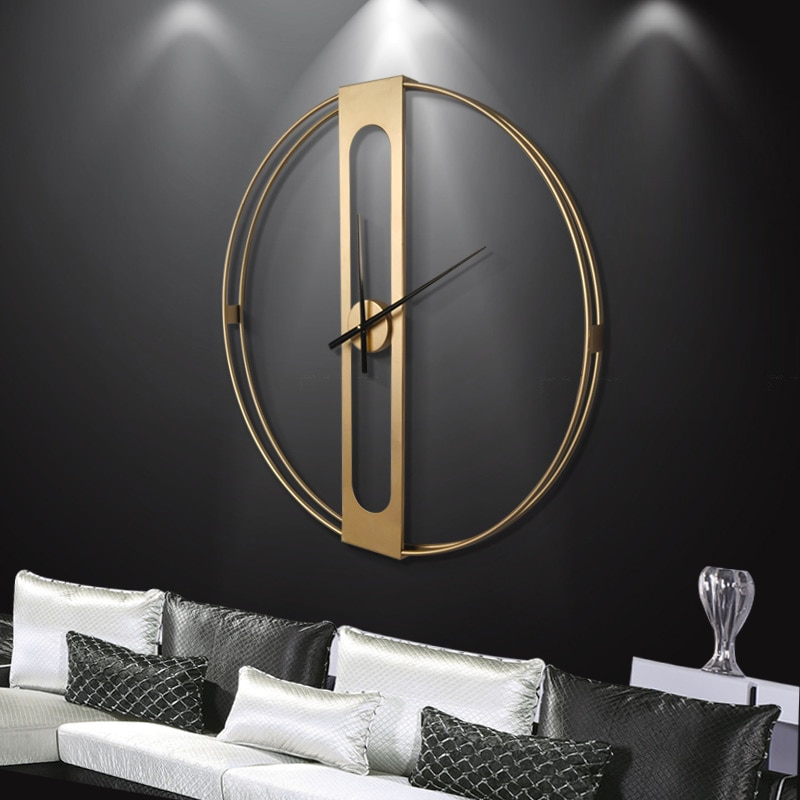 Reloj de pared nórdico silencioso, reloj de pared de salón grande y lujoso de Metal, mecanismo creativo de reloj, regalo, Idea para decoración del hogar DD55WC