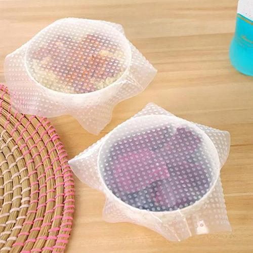 1 unids/set 3 diferentes tamaños de película adhesiva de silicona transparente envolturas de alimentos frescos envolturas de alimento sellado al vacío