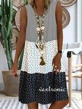 Big size dress women summer dress Loose V neck sleeveless patchwork printed dresses plus size women clothing dress