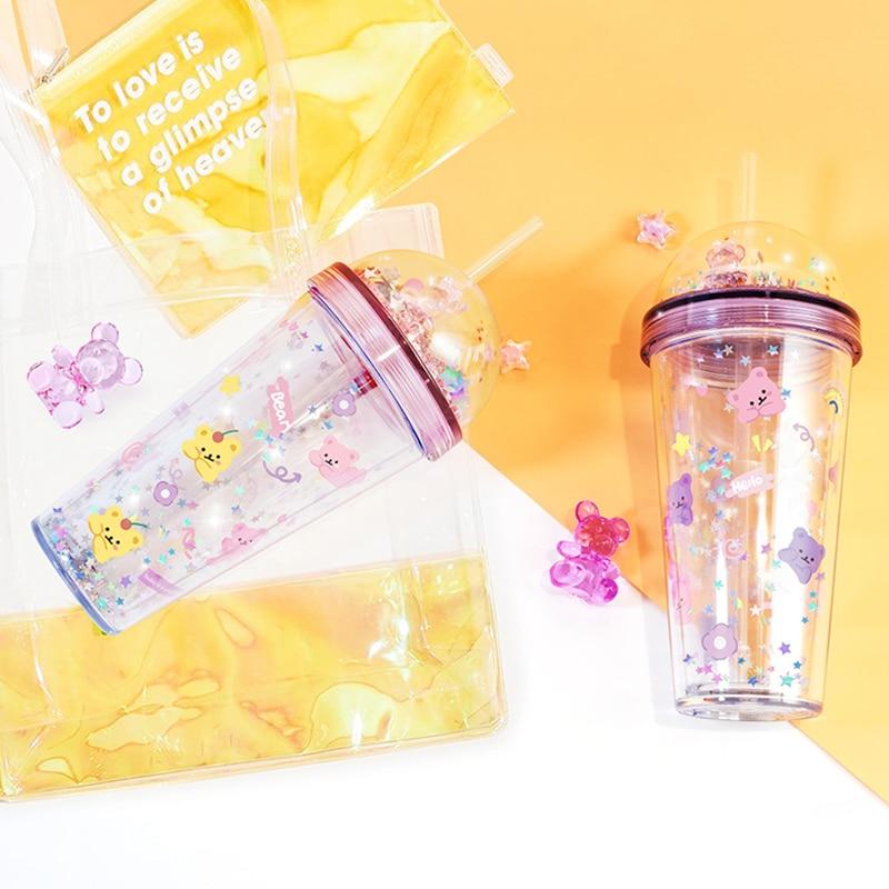 420 мл кружка из хрустального медведя, кружка для воды, двухслойная пластиковая чашка, креативный стеклянный стакан с блестками ярких цветов