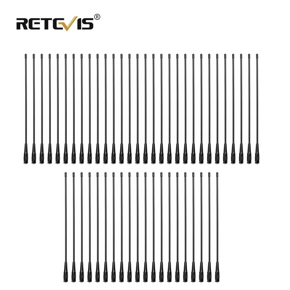 50pcs RETEVIS RHD-771 SMA-F Walkie Talkie Antenna VHF UHF Dual Band 39cm For Kenwood Retevis RT21 RT5R Baofeng UV5R 888S UV-82