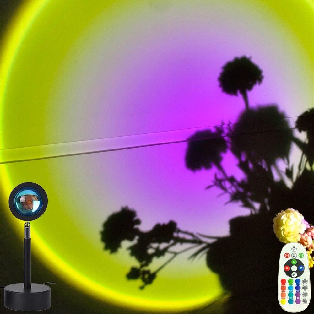 Цветной Регулируемый Радужный закат красный проектор ночной Светильник проекционный Настольный светильник для спальни Кофейни магазина н...