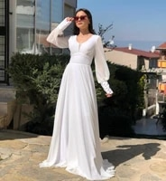 elegant long sleeve white prom dresses with pockets zipper back v neck pleated robe de soiree floor length formal party gown