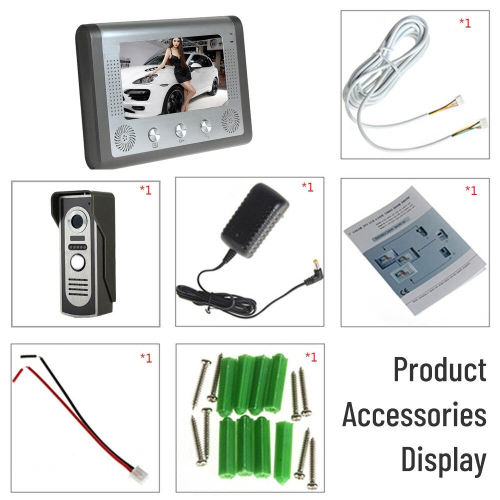7 inch wired Video intercom doorbell home villa intercom system smart cat eye monitoring system monitor video intercom for home enlarge
