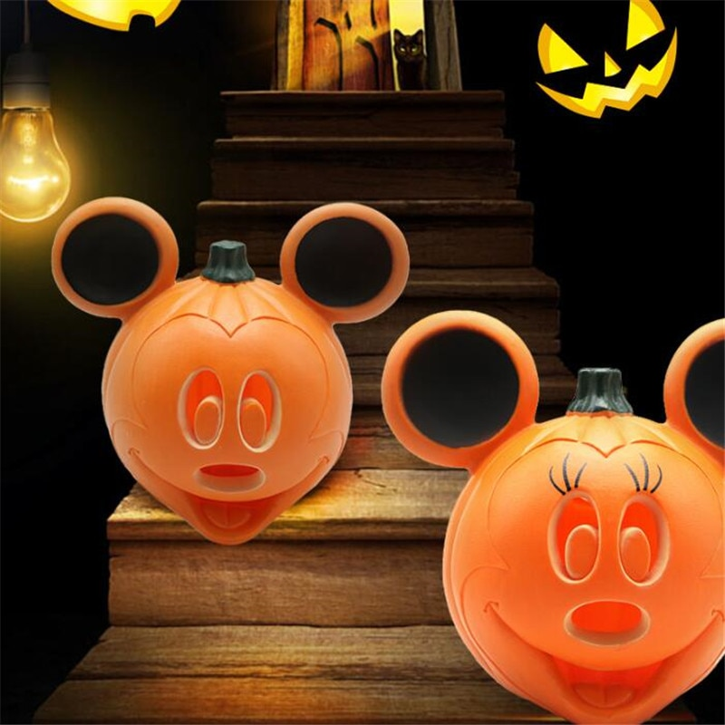 Disney mickey minnie abóbora noite luz led halloween decoração da lâmpada de natal decoração lampara abóbora festival natal iluminação