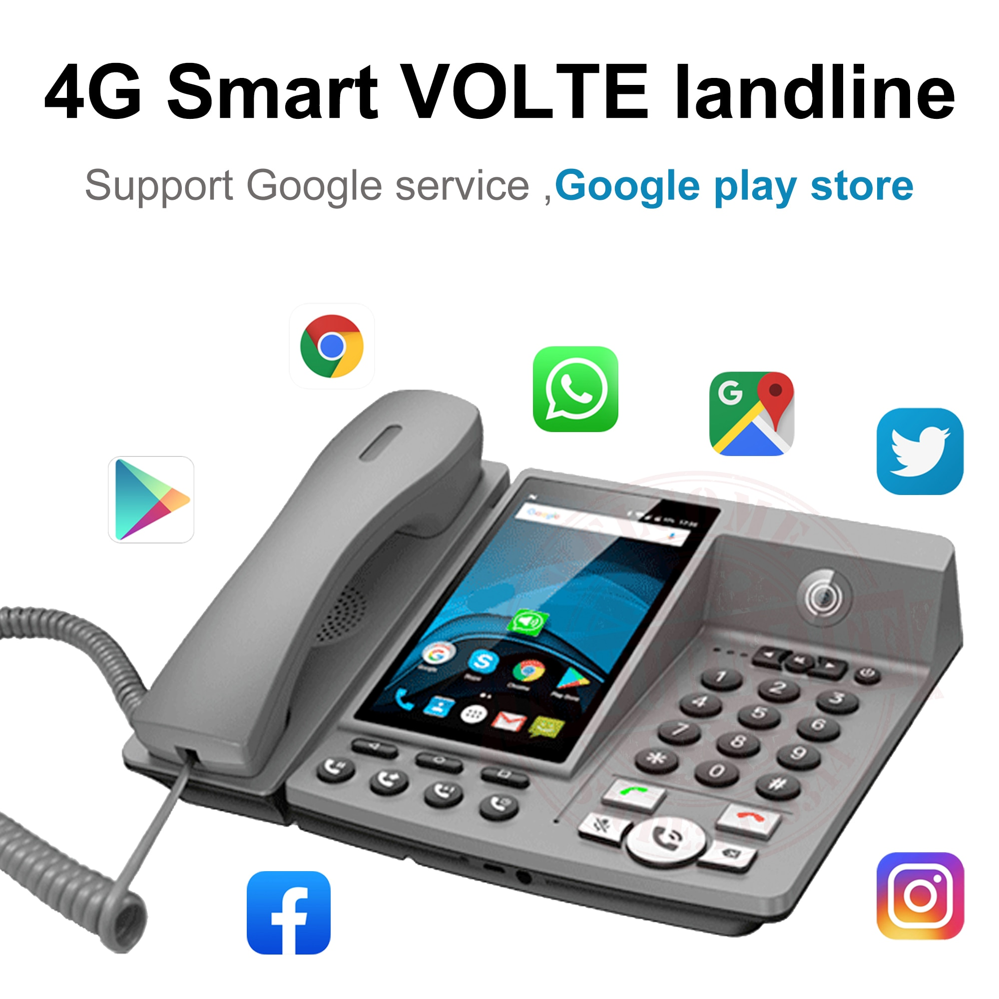 Get Smart LTE 4G Fixed Wireless landline Android 7.0 with 4G SIM network videophone glob universal elderly WIFI video mobile phone