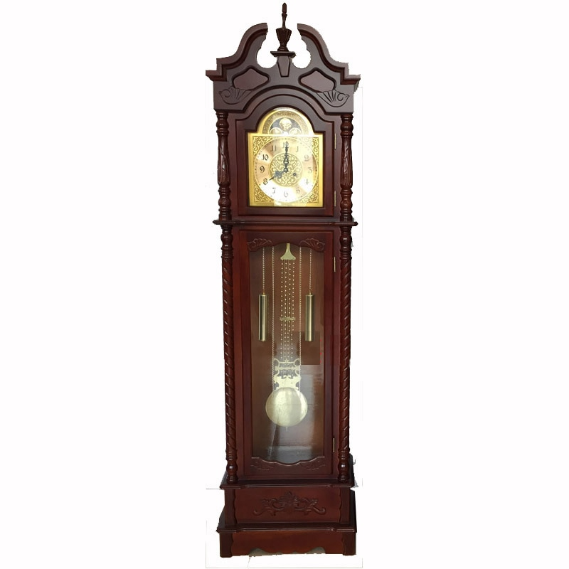 Antiguo péndulo de cobre de madera abuelo reloj de pie
