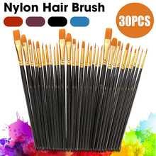 Pinceles de Nylon mango de madera acuarela pincel Juego de lápices aprendizaje DIY pintura acrílica pinceles pintura arte suministros 30 Uds