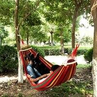 portable hammock outdoor garden hammock hanging bed for home travel camping hiking swing canvas stripe hammock with handbag