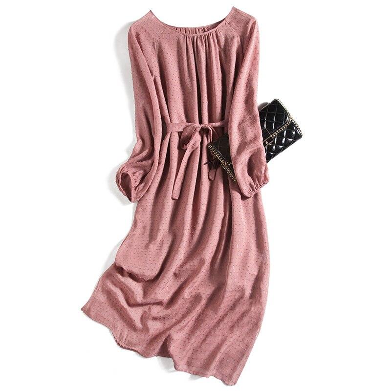 Bohemian  Appliques Dress Real Silk Dress A-Line  Solid  Wrist Sleeve Mid-Calf  Slash Neck  Summer 2020 Designer Women Dresses