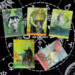 Fantasy Cats Oracle Tarot Cards Prophecy Divination Deck English Version Entertainment Board Game 23 sheets/box