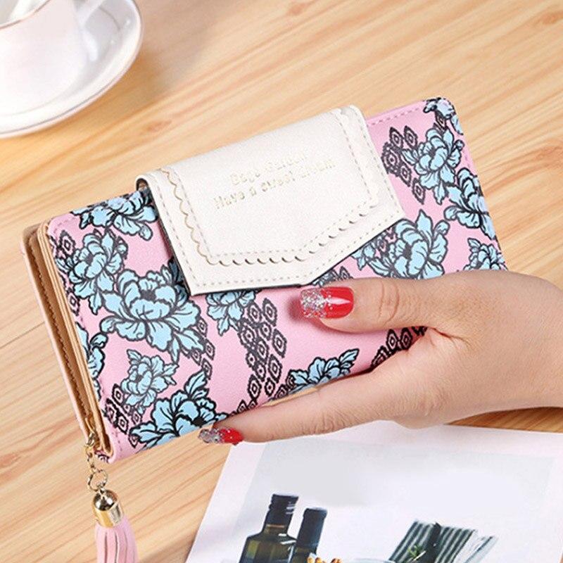 Tassel Zipper Clutch Wallets Women Floral Hasp Purse Ladies Long Wallet Phone Bag Credit Card Photo