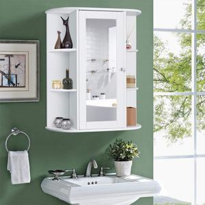 Three-layer Bathroom Mirrored Cabinet Single Door Safe And Durable Bathroom Storage Cabinet Furniture 60*17*58cm HWC