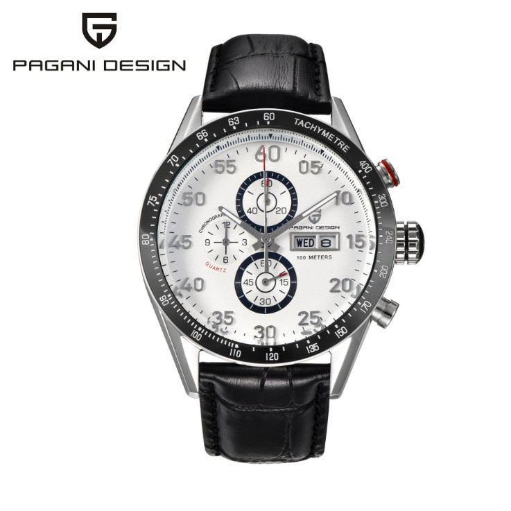 Pagani Design-reloj Casual A405, reloj de pulsera con cronógrafo y movimiento de cuarzo, correa de piel negra, reloj de pulsera con pantalla semanal para hombre