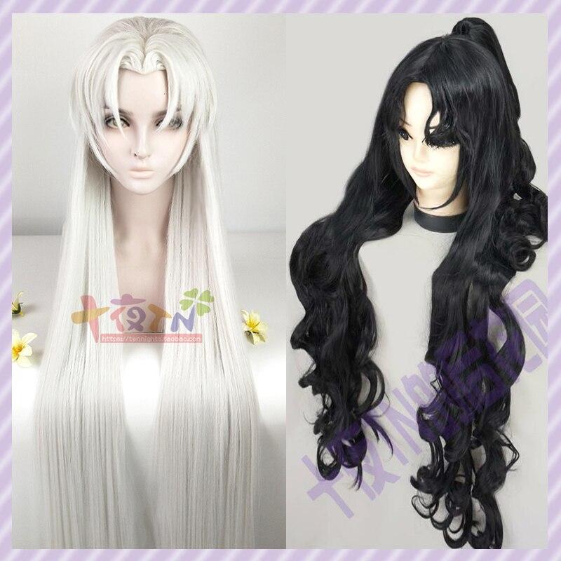 Anime personalizado estilo inuysha Naraku Sesshomaru Cosplay disfraz Peluca de fiesta negro/1 M pelo plateado + gorro de peluca + pista