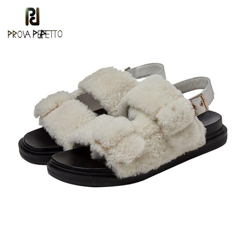 موضة جديدة لربيع/خريف 2020 صنادل مريحة لشعر الضأن أحذية نسائية بإصبع مستدير مفتوحة نعل سميك أحذية رومانية غير رسمية خارجية
