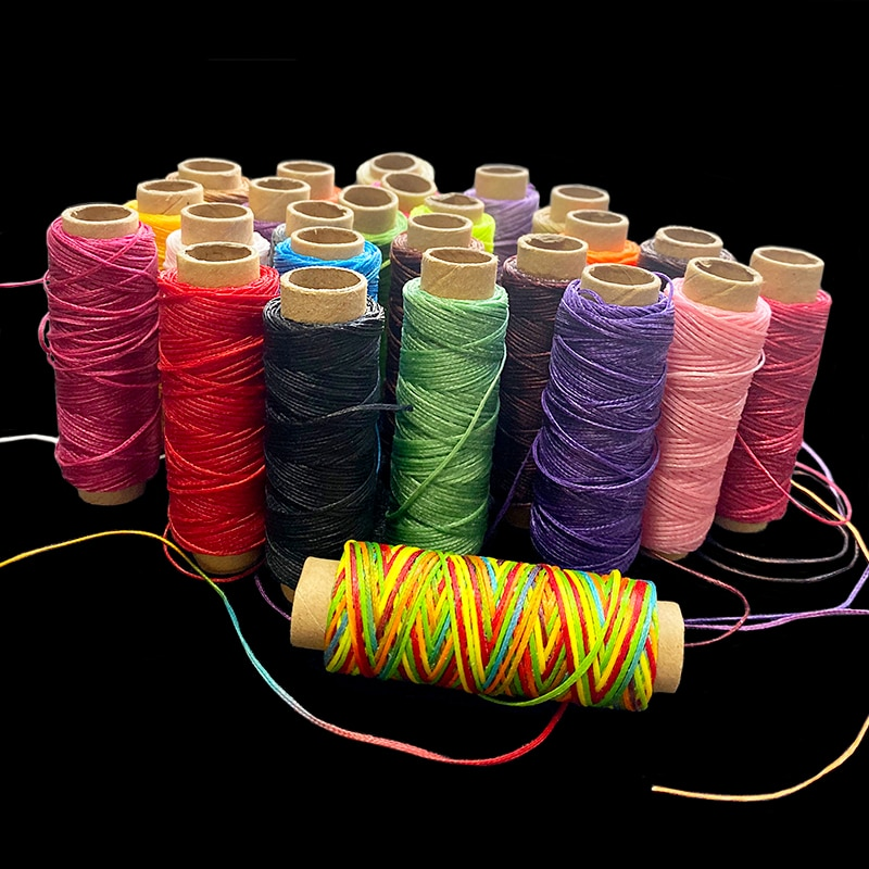 MIUSIE 1 Uds 50M 150D 1mm Cordón de hilo encerado de cuero para DIY herramienta de artesanía hilo para coser a mano encerados lisos línea de costura