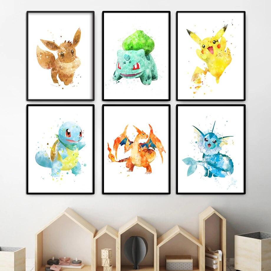 Pokemon Pikachu Charmander Squirtle Bulbasaur Charizard akwarela płótno malarstwo ścienne plakat artystyczny drukuj Pokémon Cartoon Anime