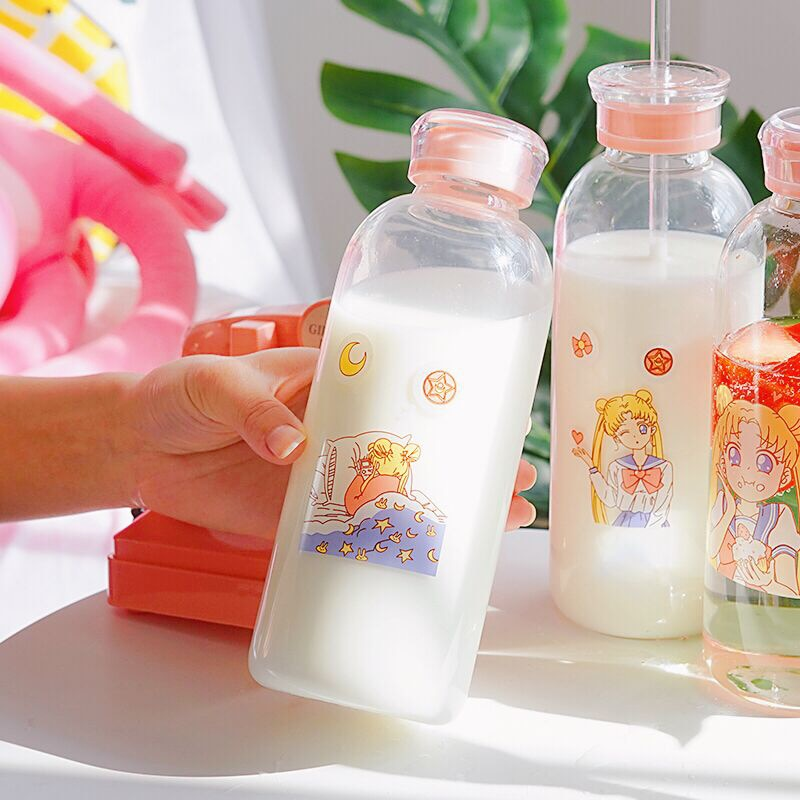 Sailor Moon, стеклянные бутылки для напитков, Kawaii, бутылка для воды, экологичное стекло с соломенным стеклом, Милые Чашки для детей, бутылка для воды, My Bottle