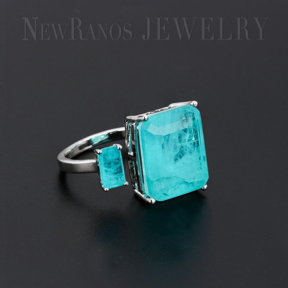 Anillo de dedo de piedra de fusión cuadrado Newranos, anillo de apertura de doble Piedra Natural azul para mujer, joyería de moda RFX001904