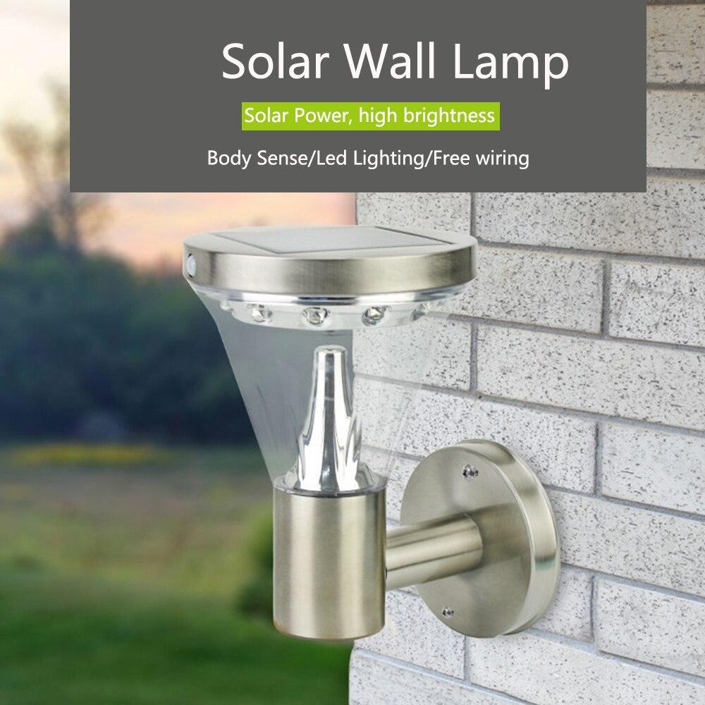 Indução de aço inoxidável luz solar indução de 180 graus lâmpada solar para villa/estrada luz noturna luz automática à noite
