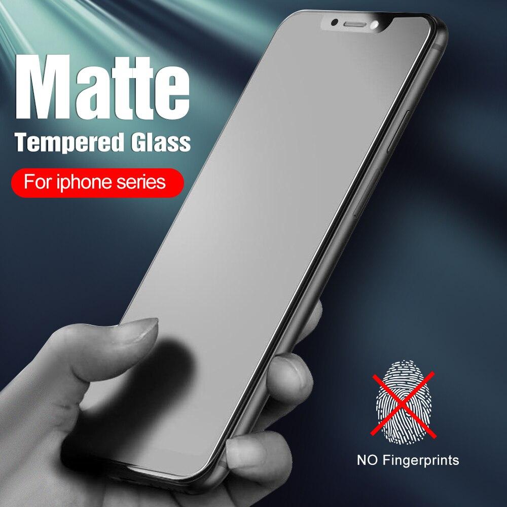 2 pièces en verre trempé mat pour iphone 12 pro max verre pour iphone 12 11 pro xs max x xr 6 7 8 plus iphone12 film protecteur d'écran