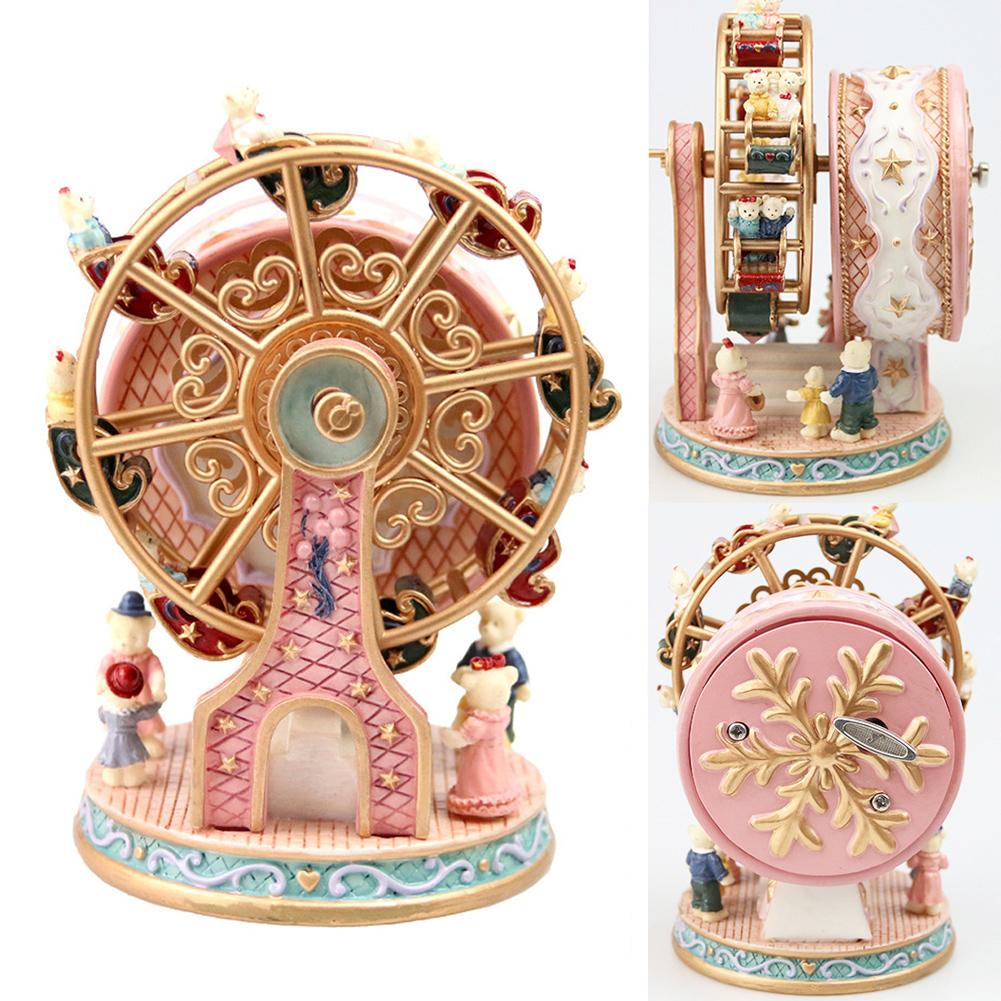 Rotativa roda gigante resina rotativa caixa de música urso caixa de música presente de natal decoração