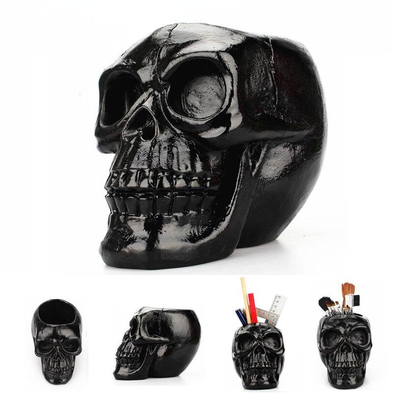 Crânio resina caixa de armazenamento tubo criativo cabeça do crânio estatueta esqueleto estátua jóias pote recipiente caneta titular crânio preto