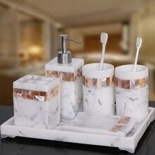 Modern Natural Ceramic Shell 5pcs Set High-end Mouth Cup Wash Soap Toothbrush Holder Creative Bathroom Kit Dispenser Shower LO72