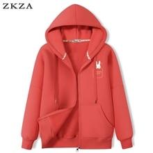 2021 New Hoodies Women's Zip Up Pocket Top Korean Style Spring Autumn Thin Cartoon Printing Sweatshi