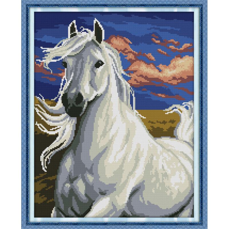 Joy Sunday New Animal Crossstitch Kit White Horse Needlework 11/14 CT DIY Handmade Embroidery Kit Wall Painting Home Decor Gift