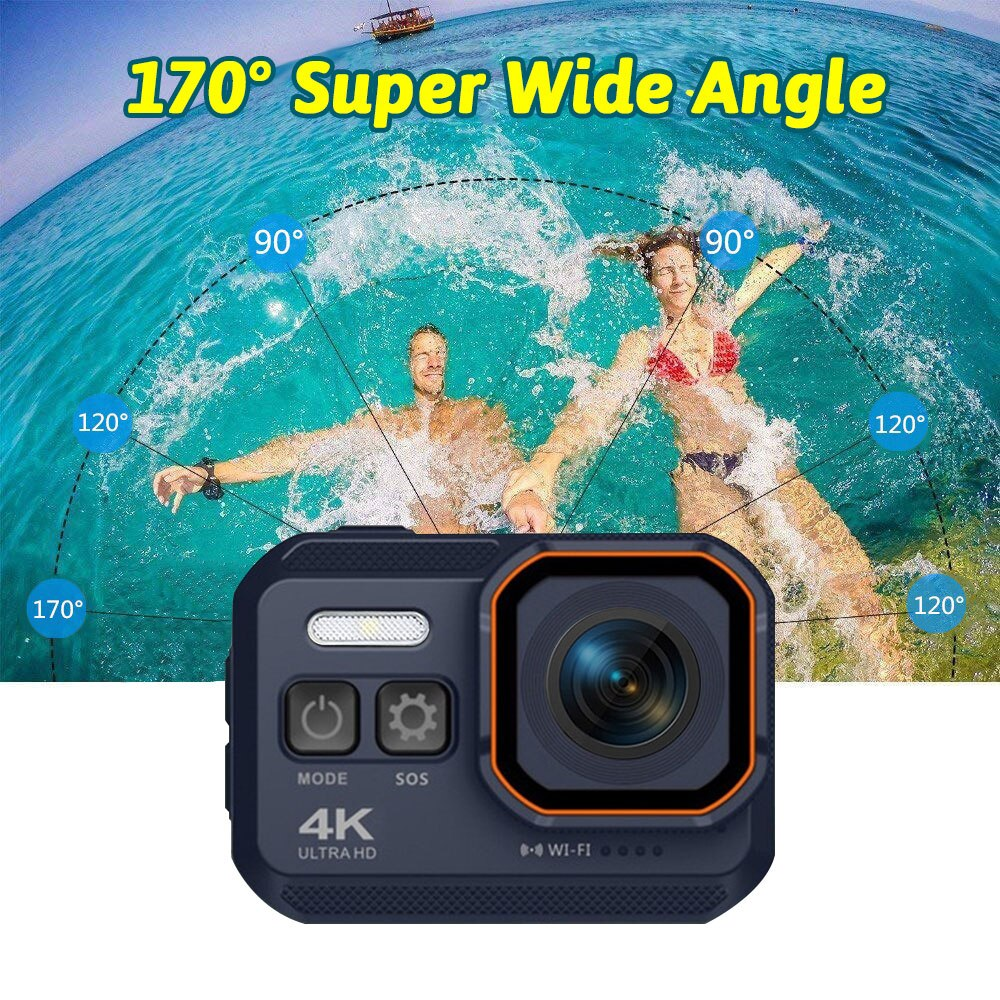 HD 4K Action Camera 170 Degree WiFi 30fps Video Professional Support NightShot Waterproof Diving Camera Case For Youtube Video
