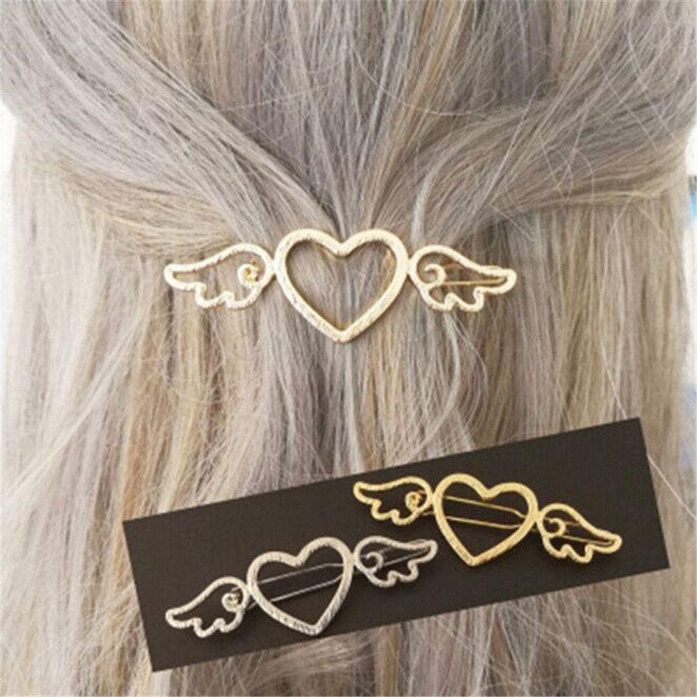 1 PC Neue Mode Frauen Mädchen Haarnadeln Engel Herz Flügel Haar Clip Zarten Haar Pin Haar Dekorationen Schmuck Zubehör