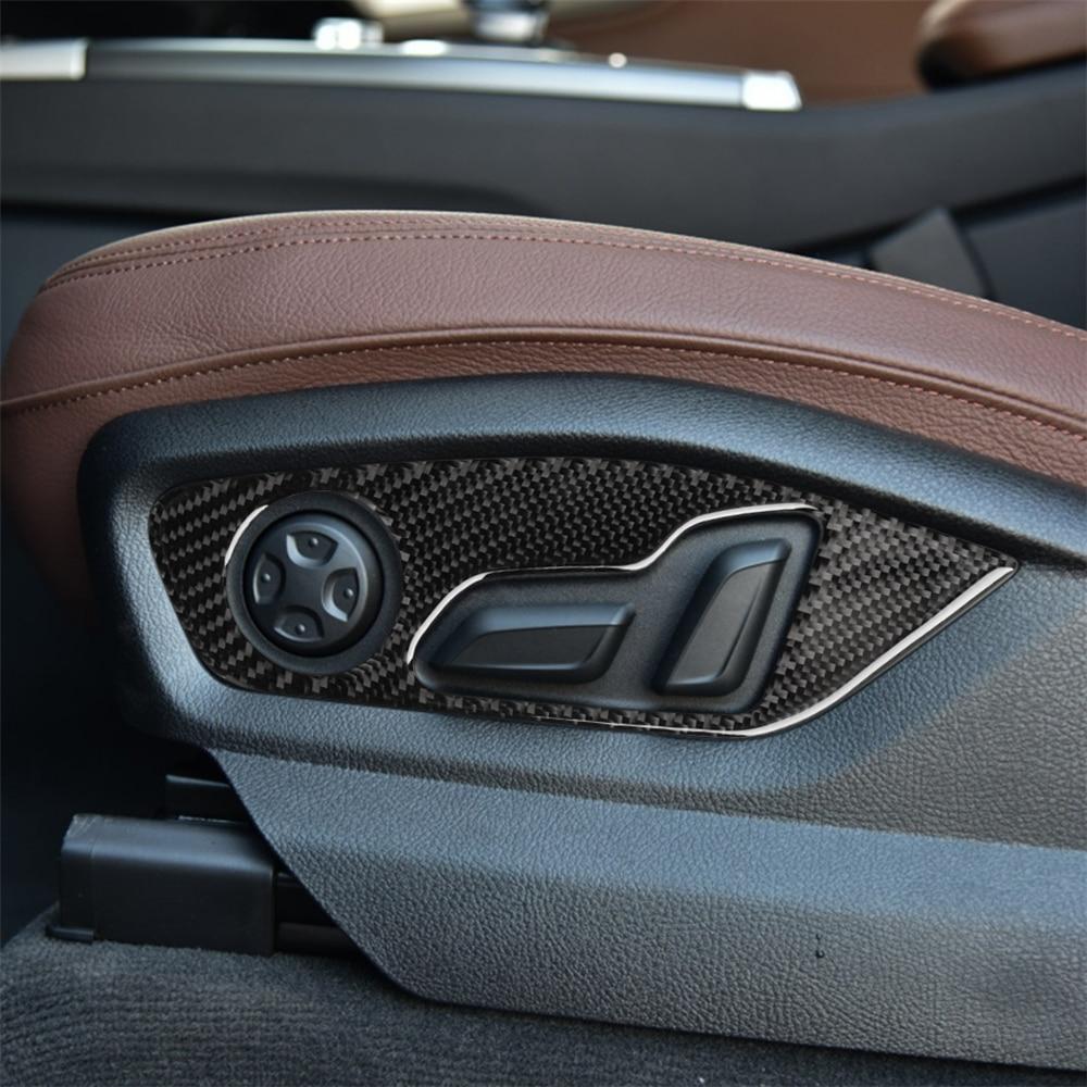 Decoración Interior de fibra de carbono ajuste de asiento de respaldo moldura de cubierta de Marco pegatinas para AUDI Q7 SQ7 4M 2016-2019 coche Assessoires